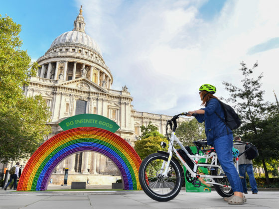 The #EveryCanCounts Rainbow in front of St Paul's Cathedral, London